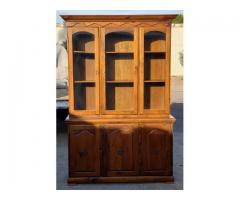 Solid Pine China Cabinet Display Hutch Curio Dining Kitchen
